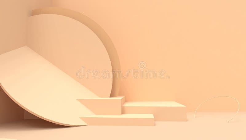 在橙色背景的指挥台几何圈子形状最小和现代概念艺术淡色橙色墙壁场面 向量例证
