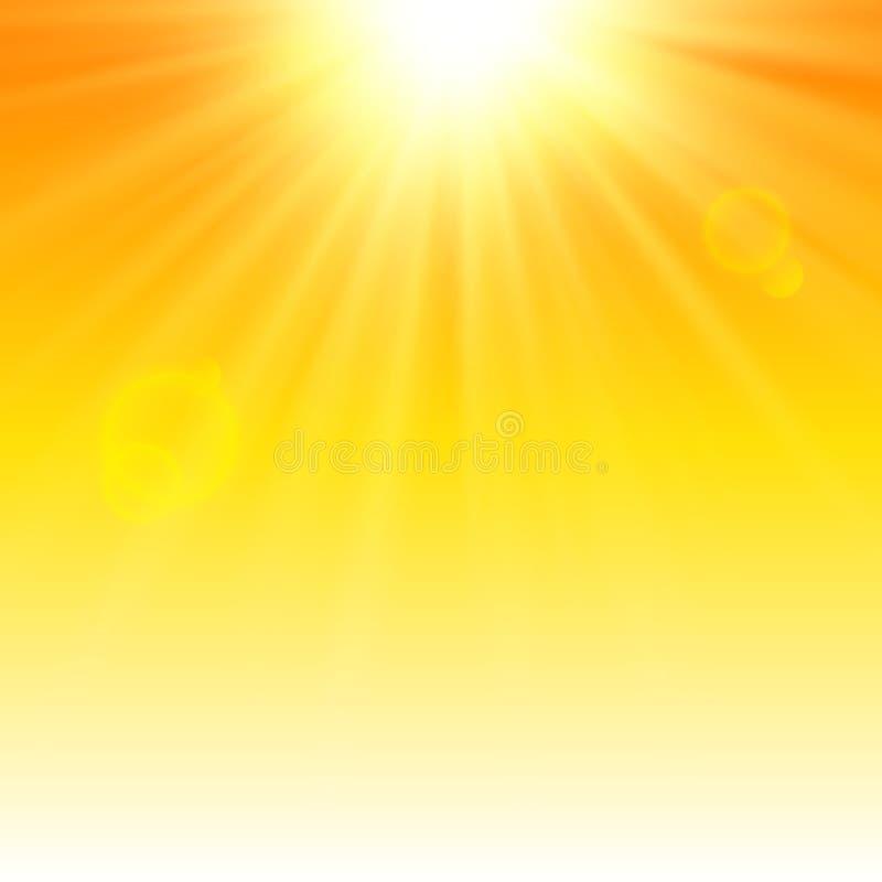 在橙色背景的晴朗的光芒热的夏天设计的 皇族释放例证