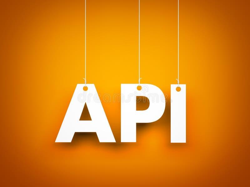 在橙色背景的白色词API 例证新年度 库存例证