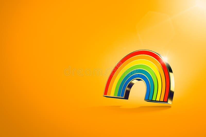 在橙色背景的盘旋的彩虹标志 LGBT平等权利运动和男女平等概念 在的拷贝空间 库存例证