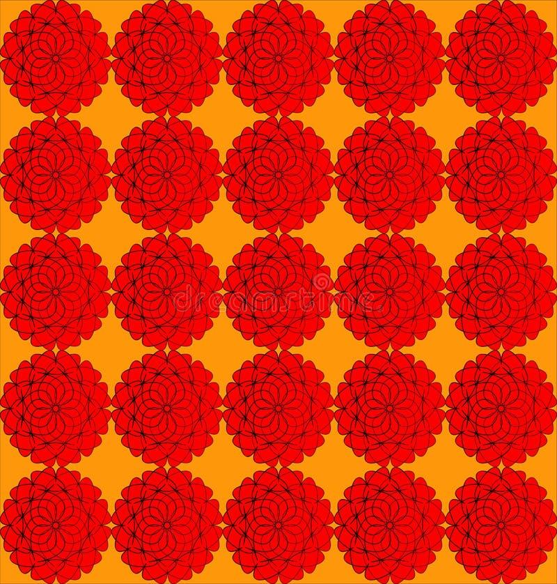 在橙色背景的花 库存例证