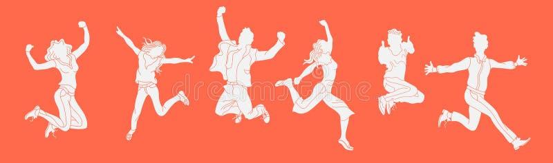 在橙色背景的跳跃的人剪影 跳跃人字符的各种各样的姿势 手拉的样式传染媒介设计illustra 库存例证