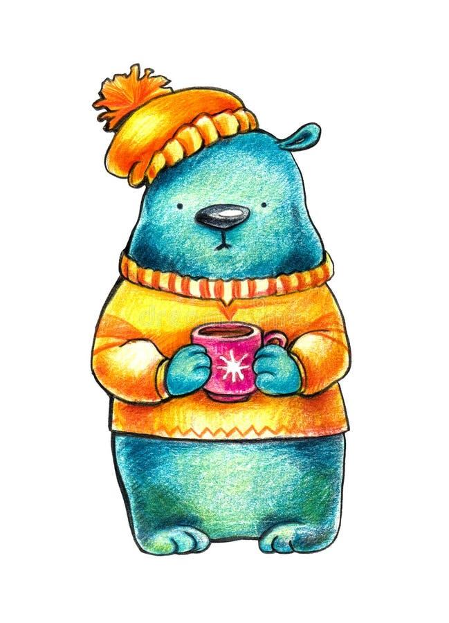 在橙色运动衫和冬天帽子的有同情心的蓝色熊拿着在一个红色杯子的咖啡 在白色背景的Ilustration 向量例证
