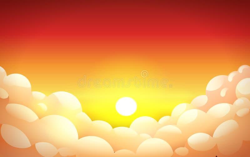 在橙黄颜色的红色日落天空与蓬松云彩 向量例证