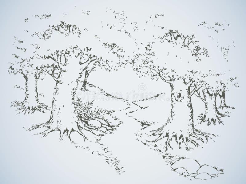 在橡木树丛中的道路 得出花卉草向量的背景 皇族释放例证