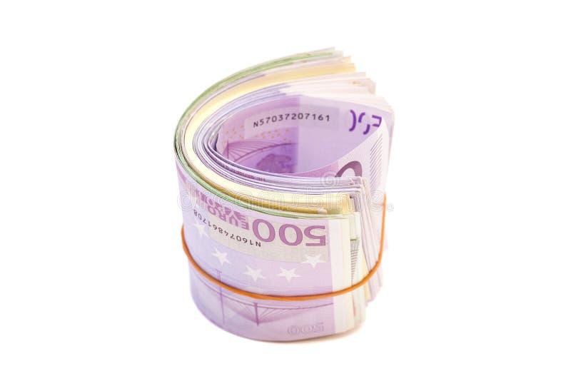 在橡皮筋儿下的五张第百张钞票 库存图片