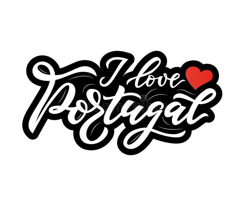 在欢迎上写字的手对有心脏的葡萄牙 ?? 向量例证