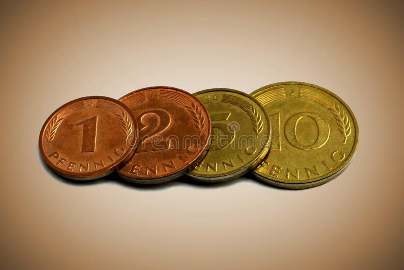 在欧元前 老德国硬币 库存照片