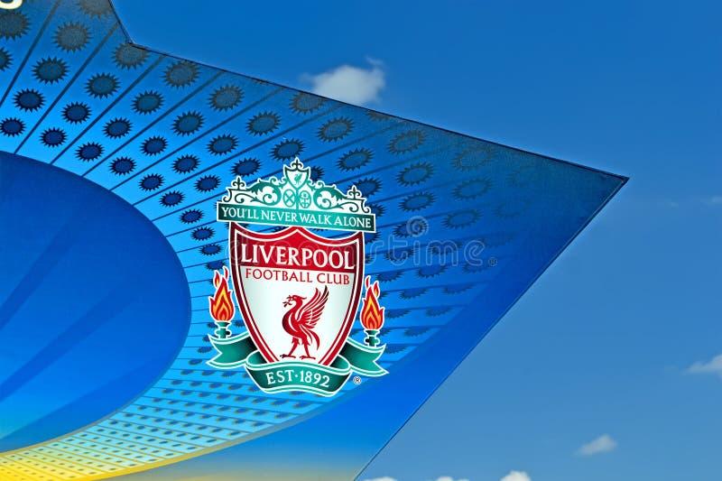 在欧洲联赛冠军杯决赛2018标志的利物浦足球俱乐部在基辅,乌克兰, 免版税库存图片
