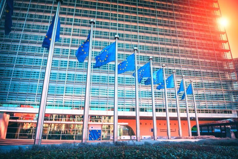 在欧洲议会大厦前面的欧盟旗子 布鲁塞尔,贝耳 库存照片