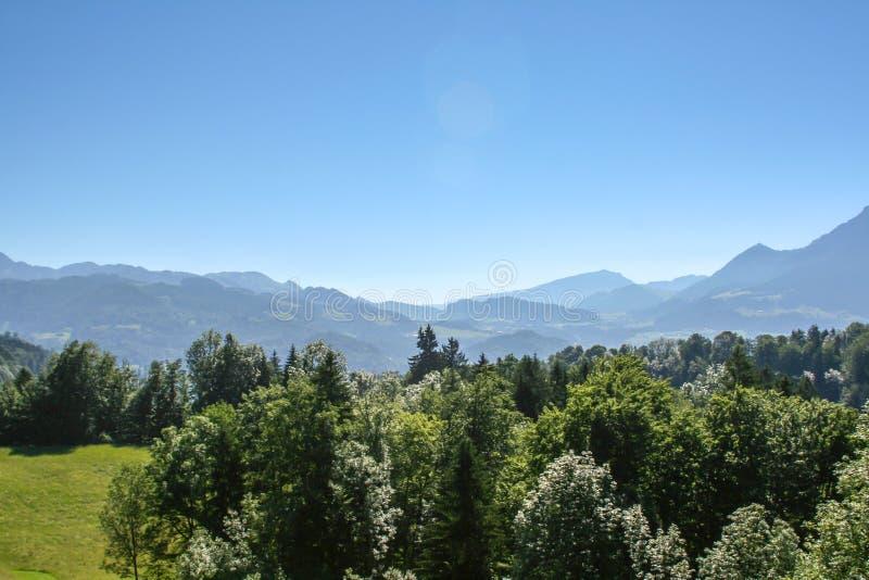 在欧洲阿尔卑斯的宽看法 库存照片