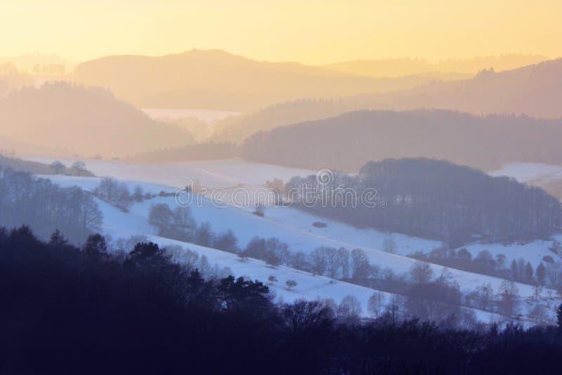 在欧登瓦德山森林的美好的风景视图有在日落的雪的在冬天在德国 免版税库存图片
