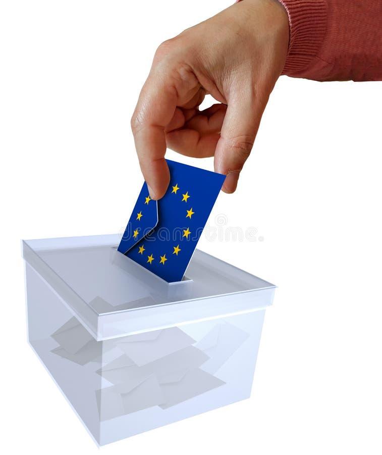 在欧盟信封的竞选与EU议会的- 3d欧洲旗子表决翻译 库存照片
