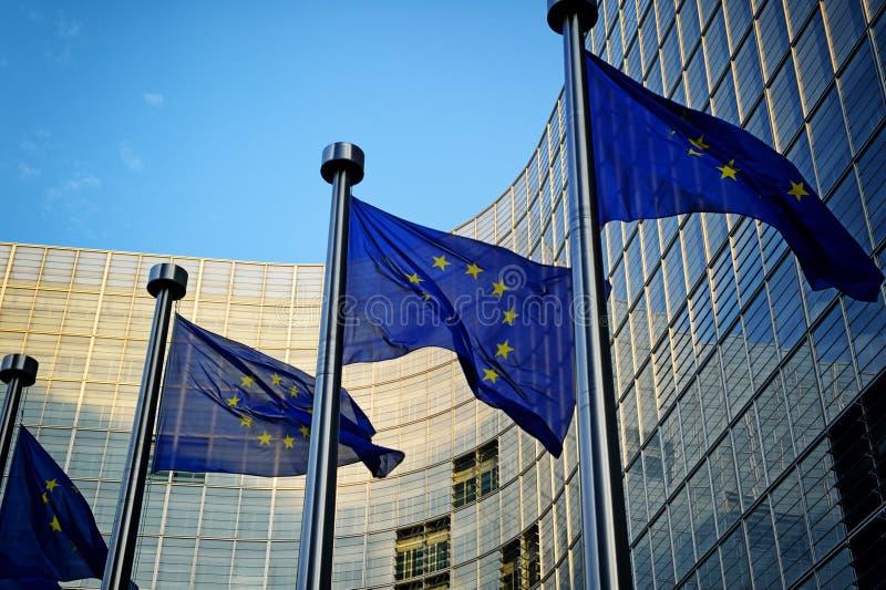 在欧盟执委会前面的欧盟旗子 免版税图库摄影