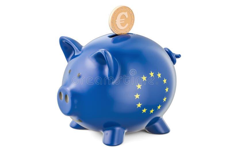 在欧盟的投资 有旗子和金子的存钱罐 库存例证