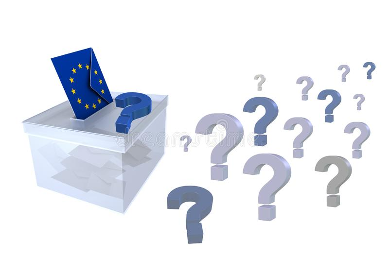 在欧盟问号选票和信封的竞选与EU议会的- 3d欧洲旗子表决翻译 向量例证