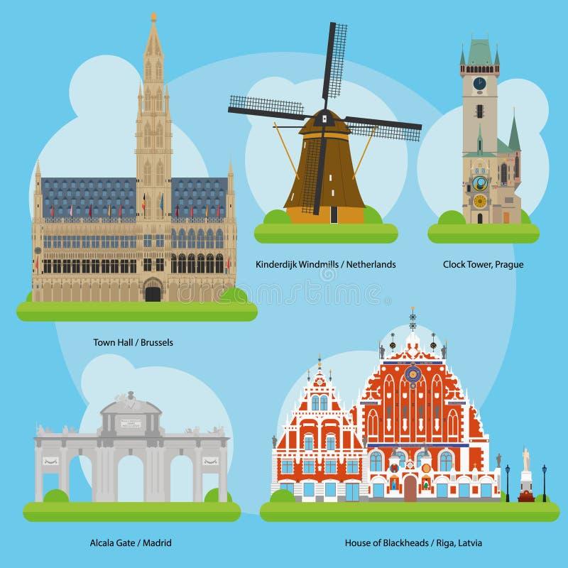 在欧洲卷导航纪念碑和地标的例证 3 向量例证