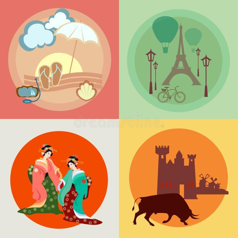 在欧洲和亚洲的旅行:法国,日本,西班牙,象 库存例证