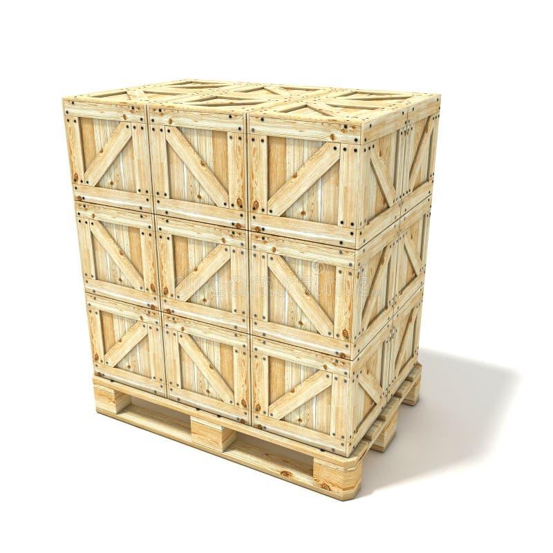 在欧洲板台的木箱 3d回报 免版税库存照片