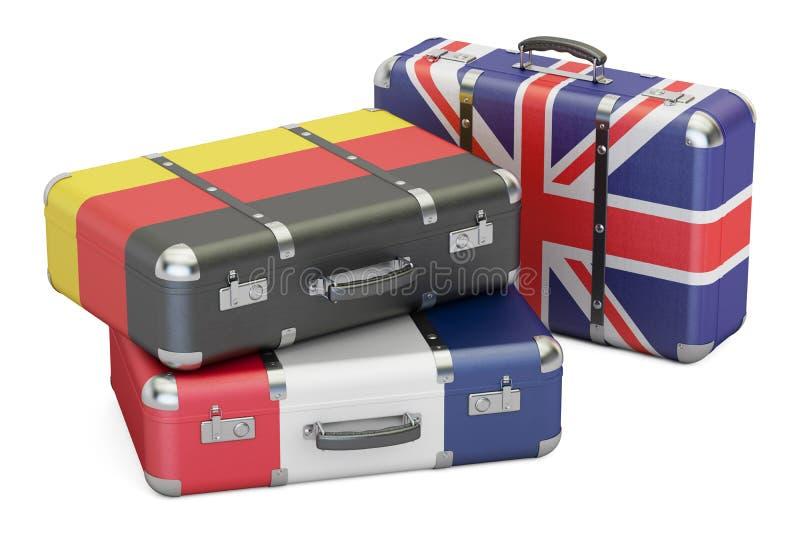 在欧洲概念,有英国的旗子的手提箱附近旅行,德语 向量例证