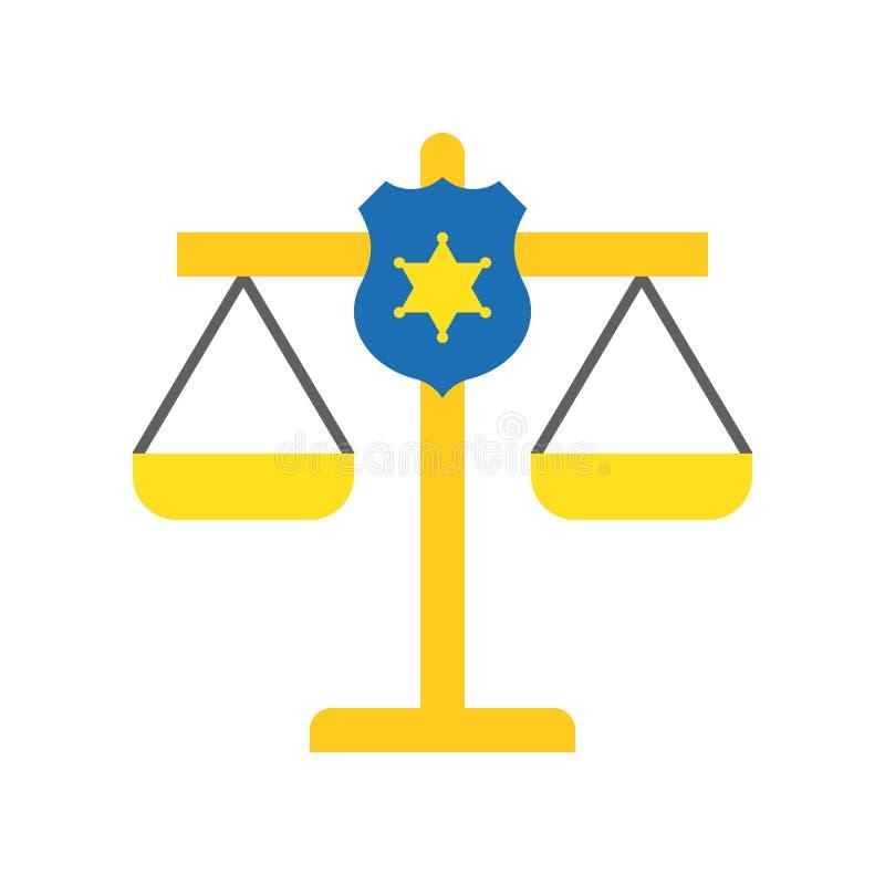 在正义等级,法律相关象的警察盾 向量例证