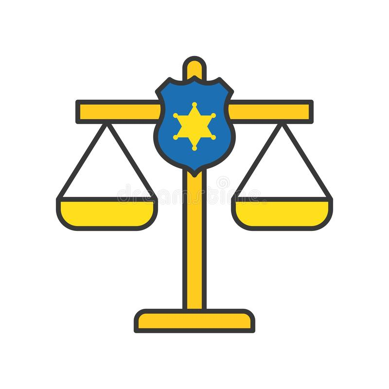 在正义等级,法律相关象编辑可能的冲程的警察盾 向量例证