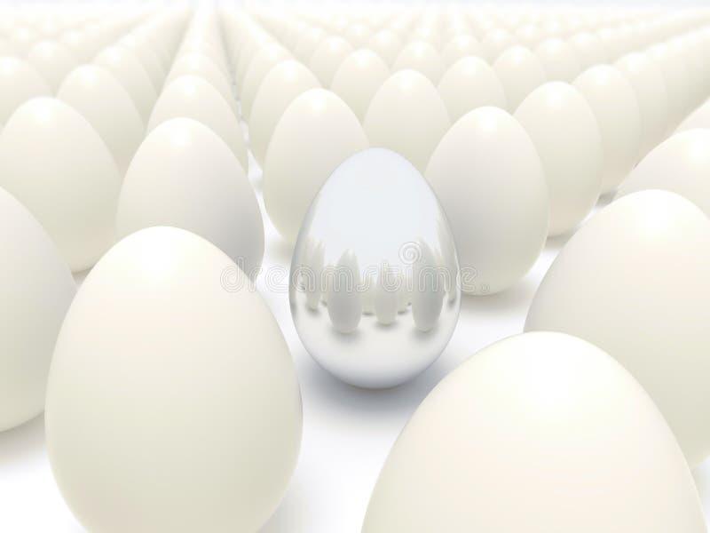 在正常鸡蛋行的银色鸡蛋-企业复活节时间概念 皇族释放例证