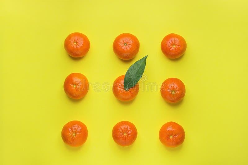 在正方形一的行安排的明亮的成熟蜜桔与绿色叶子在中部 黄色背景 knolling的食物 被称呼的创造性 库存图片