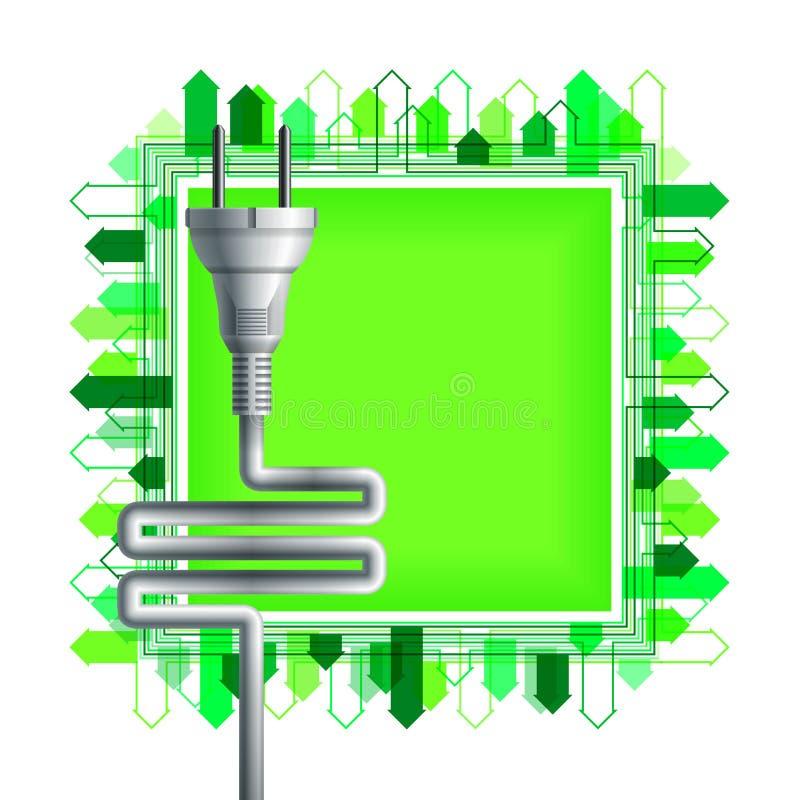 在正方形的白色电插座与大厦 库存例证