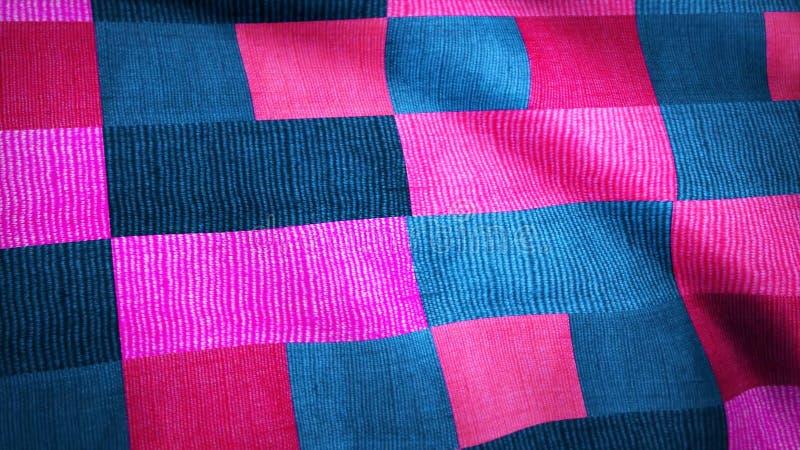 在正方形的色的织品移动风 色的织品的背景动画 库存图片