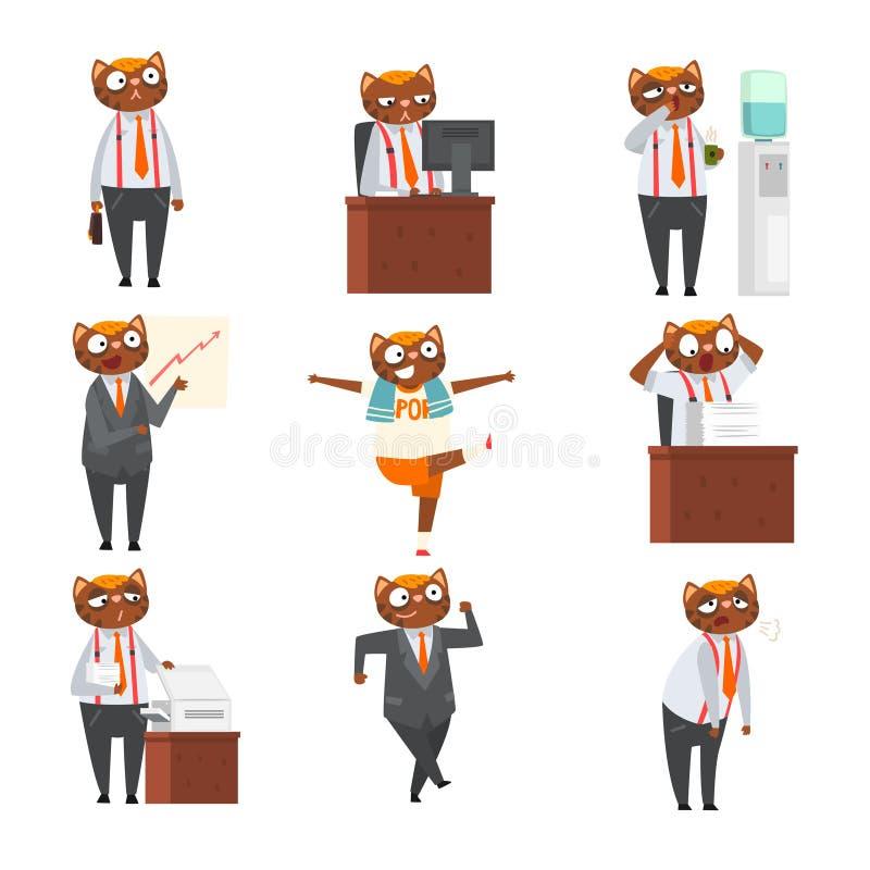 在正装的商人猫用不同的情况,工作传染媒介的被赋予人性的动物卡通人物 向量例证