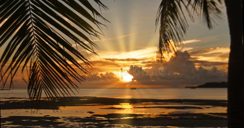 在步枪小海湾的日落 图库摄影