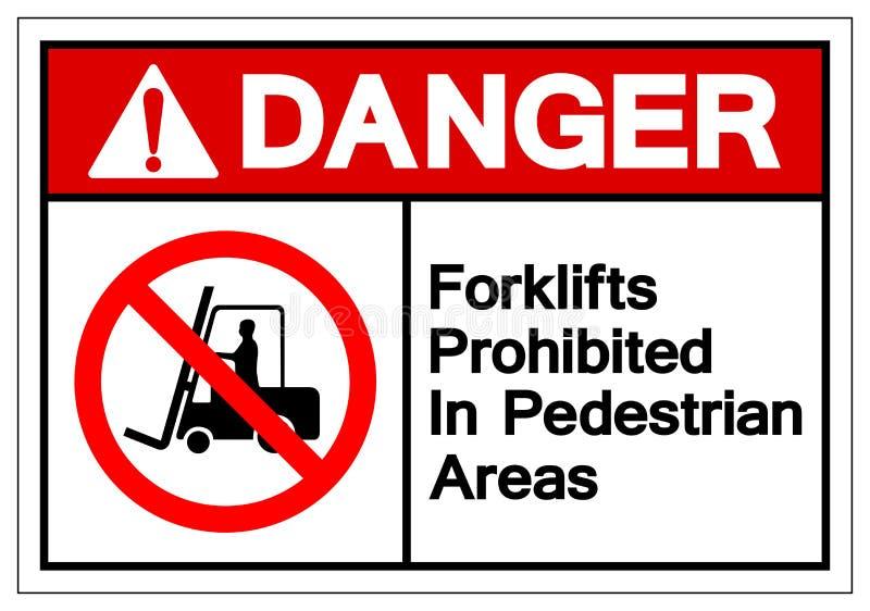 在步行区域标志标志禁止的危险铲车,传染媒介例证,在白色背景标签的孤立 EPS10 向量例证