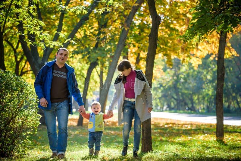 在步行的美丽的年轻家庭在槭树yello的秋天森林里 免版税库存图片