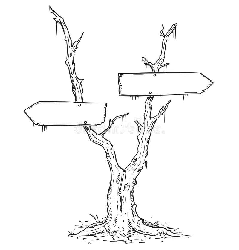 在死的沼泽树的空的空白的箭头标志 库存例证