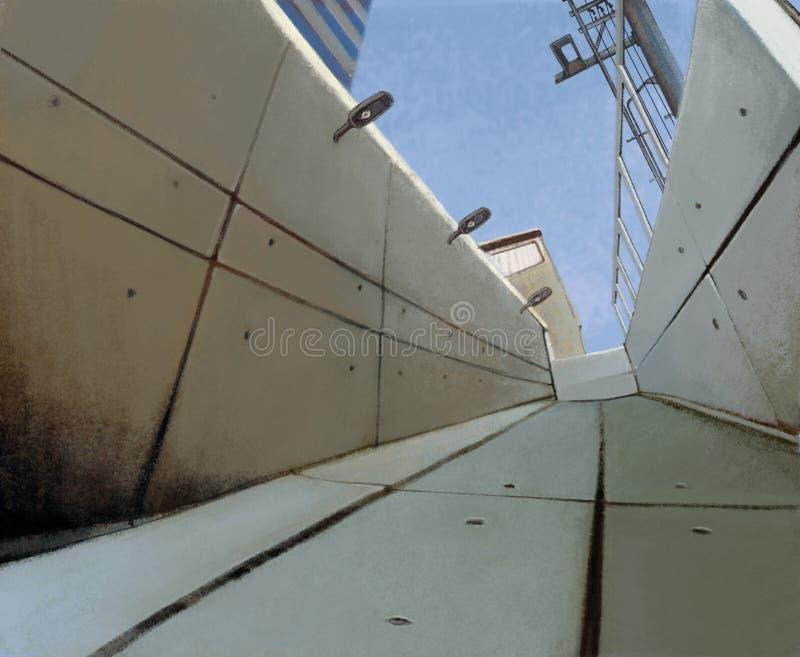 在死角的阴沉的具体隧道结尾 向量例证