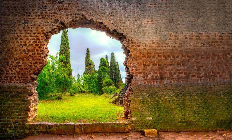 在残破墙壁庭院伊甸园门水平的背景的孔 免版税库存照片
