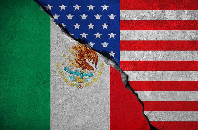 在残破的砖墙上的墨西哥旗子和半美国美国旗子、危机王牌总统和墨西哥人建筑的t 库存例证