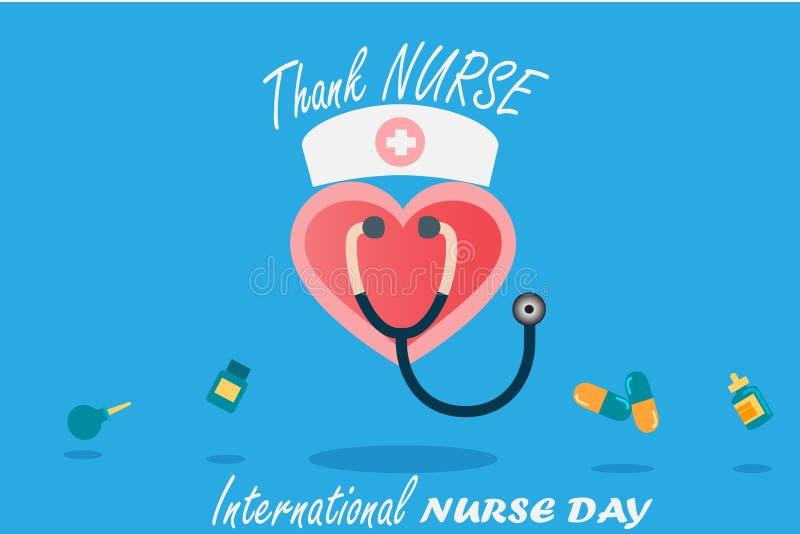 在每年5月设计的国际护士天由在音调口气概念的传染媒介 皇族释放例证