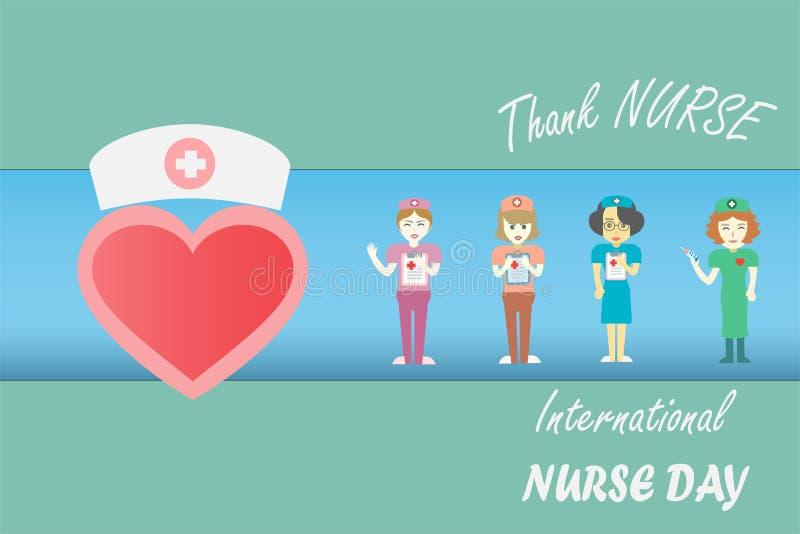 在每年5月设计的国际护士天由在音调口气概念的传染媒介 向量例证
