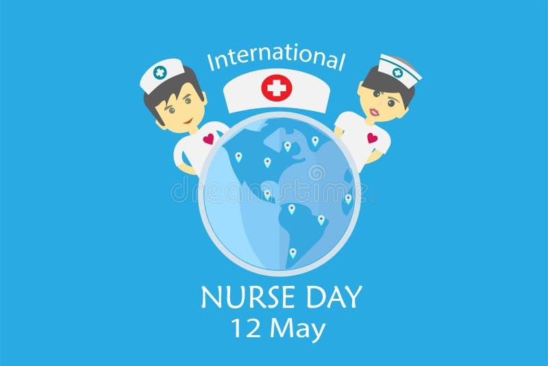 在每年5月设计的国际护士天由在音调口气概念的传染媒介 库存例证