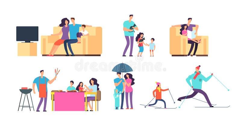 在每日活动的家庭 母亲、父亲和孩子一起花费时间的在家和室外 向量动画片 向量例证