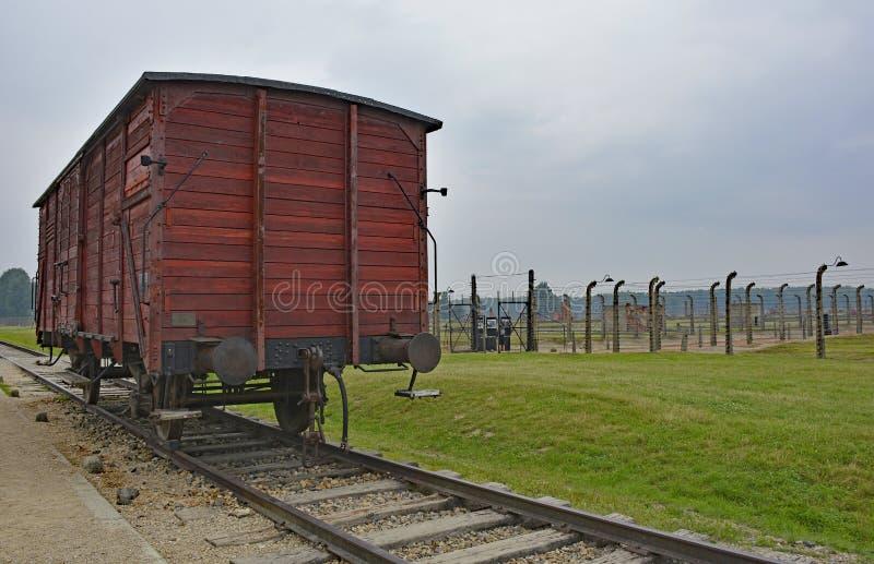 在比克瑙的路轨无盖货车 免版税库存照片