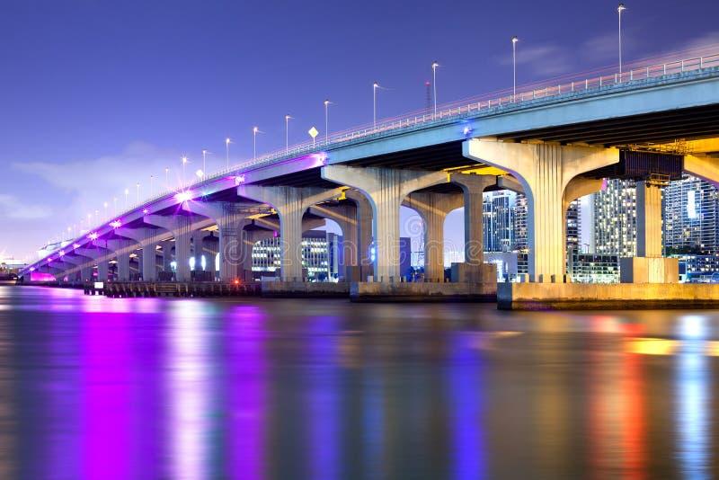 在比斯坎湾的麦克阿瑟堤道在迈阿密 库存图片