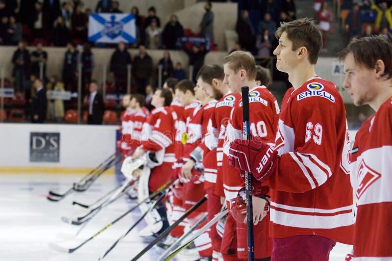 在比赛之前的Spartak队 免版税库存照片