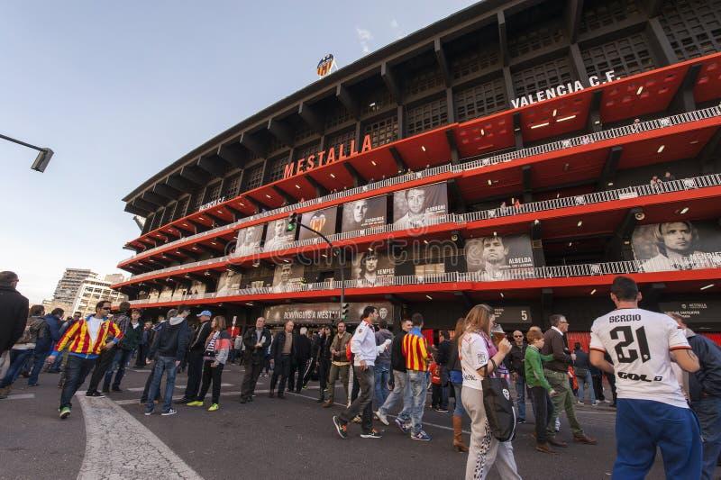 在比赛前的Mestalla体育场 库存图片