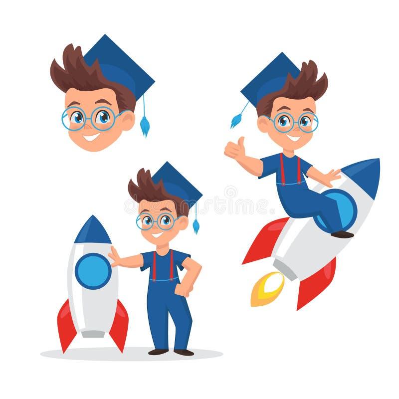 在毕业盖帽的逗人喜爱的小男孩集合 有火箭的男小学生 学校、教育和开发中心的例证吉祥人 库存例证