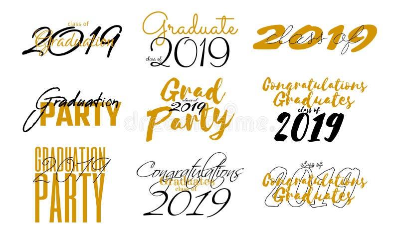 在毕业类的集合上写字2019年 毕业设计的,祝贺事件,党,问候传染媒介文本 向量例证