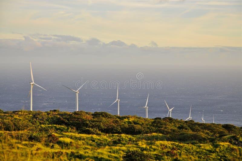 在毛伊海岸的风力的发电器 免版税库存图片