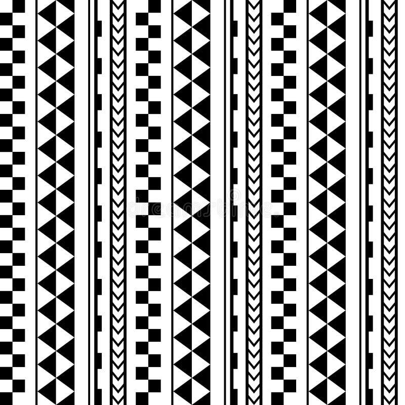 在毛利人纹身花刺样式的传染媒介种族无缝的几何简单的样式 向量例证